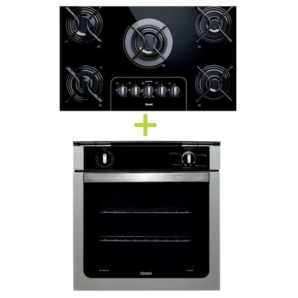 Combo Cooktop 5 Bocas Controle Fácil E Forno De Embutir A Gás 78L Prata Com Grill Consul (Cd075ae + Coa84br) - Cd0_Coa_Cj Cd0_Coa_Cj